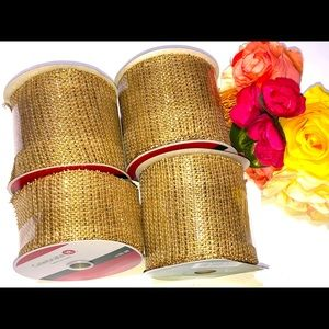 NEW BURLAP AND GOLD RIBBON WITH WIRE